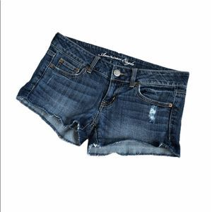 American Eagle Blue Denim Mid Rise Frayed Shorts